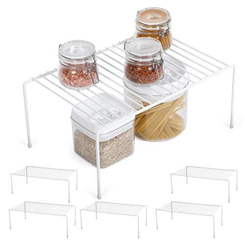 Smart Design Cabinet Storage Shelf Rack - Medium (8.5 x 13.25 Inch) - Non-Slip Feet - Steel Metal Frame - Rust Resistant Coating - Cup, Dish, Counter & Pantry Organization - Kitchen [White] - Set of 6