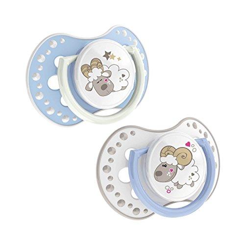Lovi 22/809boy Dynamische silicone fopspeen Night & Day, 0-3 maanden, grenenbestendig, 2 stuks, BPA-vrij, nacht oplichtende ring, blauw