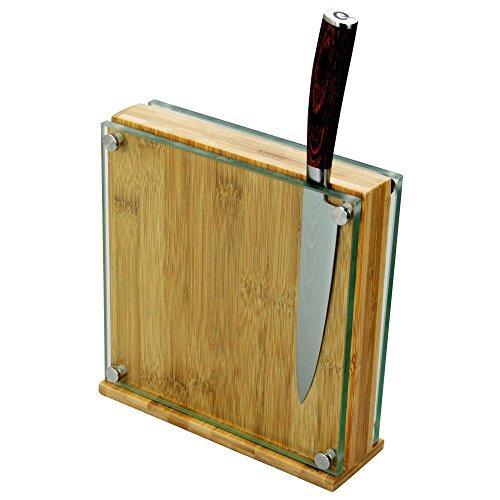 Soporte Magnético para Cuchillos Bambú y Vidrio Bloque del Cuchillos (para 8-10 Cuchillos)