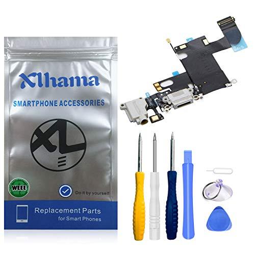 Xlhama Connettore Dock di Ricambio per iPhone 6 (Bianco) con Jack Audio per Microfono e Antenna Preinstallato Include Kit di Strumenti di Riparazione per Facile Onstallazione