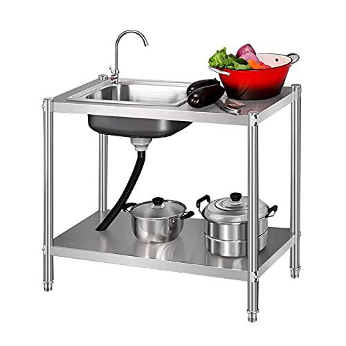 HYDL Organizador Fregadero Cocina, Fregadero comercial de acero inoxidable, fregadero de cocina de un solo tazón y fregadero para uso general con mesa de trabajo para interior y ex