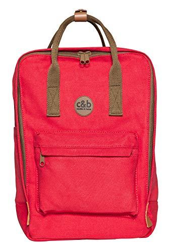 cecilia&bens Canvas Rucksack Damen Herren Schulrucksack Notebook bis 14 Zoll und A4 Blöcke, Farbe:rot