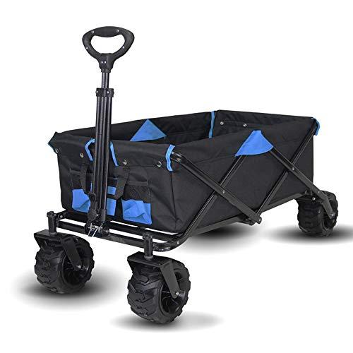 JHDUID Zusammenklappbarer Wagen für den Außenbereich Blue Garden Trolley Beach Picknick für den Garten im Freien Hochleistungs-Einkaufswagen Wagen für Sportgeräte Gartencamping