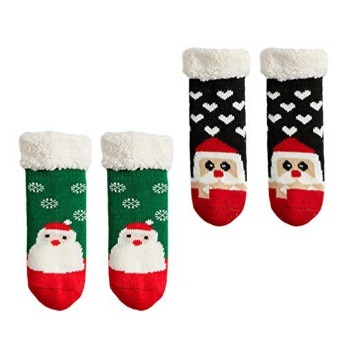 TOYANDONA 2 Pares de Calcetines de Invierno para Bebés de Navidad Calcetines Gruesos para El Piso Infantil Zapatillas Calcetines Calcetines de Vacaciones para Niños Pequeños Calcetines de
