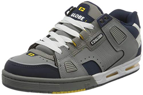 Globe Unisex-Erwachsene Sabre Skateboard Schuhe, Grey/Navy/Yellow, 38 EU, 6 UK