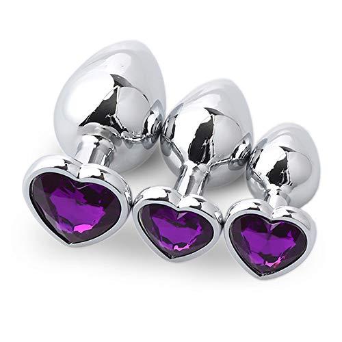 Modelo en forma de corazón de color morado oscuro Fondo redondo Ànâl 3 piezas/juego Cristal Diamante Metal Piedras preciosas Accesorios Colgante Juego de masaje Juguete Plûg