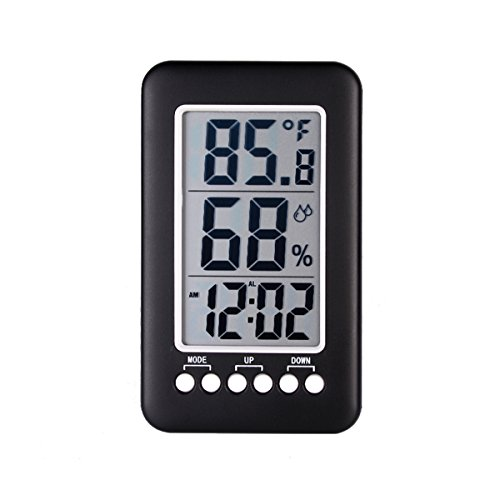 Enjoy Best Time Indoor Hygrometer Thermometer,Digital Humidity Monitor with Temperature Time Display, Multifunctional Weather Station Alarm Clock for Home,Bedroom
