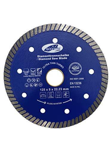 Disco de corte de diamante profesional ultrafino, diámetro de 125 mm x 22,23 mm, para cortar baldosas, azulejos, gres porcelánico, cerámica, piedra natural, granito, mármol.