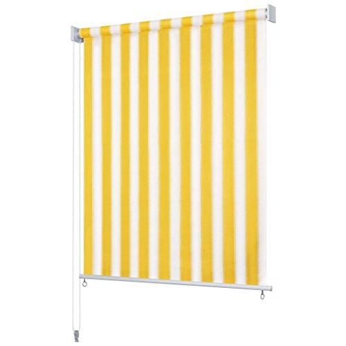 Tidyard Senkrechtmarkise Sonnenschutz Windschutz, Außenrollo und Sichtschutz HDPE,Größe: 300 x 230 cm (B x H),Modernes Streifendesign,Schirmt 90% des UV-Lichtes ab,Gelb und Weiß
