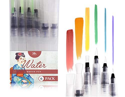 Water Brush Pens - Set of 6 Brush Tips Aqua pens - Great for Watercolor Paints, Water Soluble Pencils, Brush Pen, Markers - Refillable Brush Pens - Aqua Pen, Art Brushes - MozArt Supplies