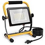Tangkula 5000 LM LED Work Light 50W, Portable Super Bright Flood Lights with Stand, Outdoor Job Site...