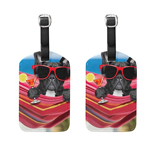 Vantaso Leather Luggage Tags Set of 2 French Bulldog with Cocktail Suitcase ID Label