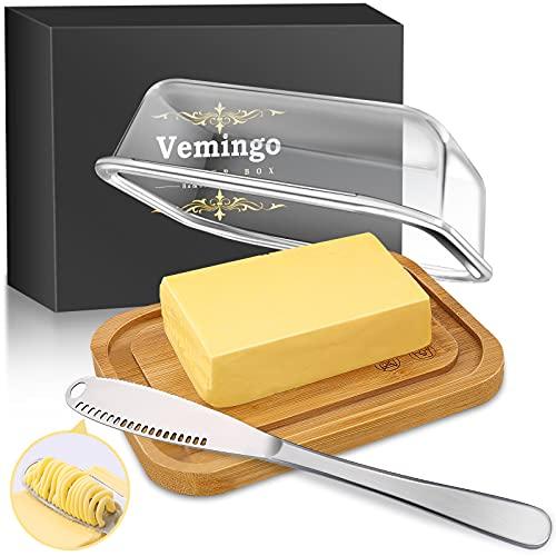 Beurrier en verre avec couvercle en bambou pour 250 g de beurre, sans BPA, transparent, couvercle en bambou avec couvercle et emballage élégant