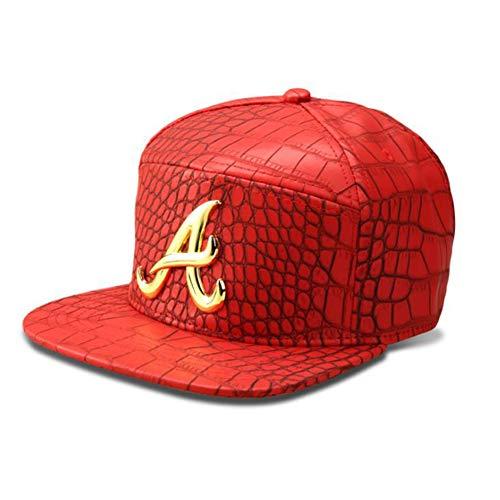 SunYoon Gorra de béisbol con patrón de cocodrilo, gorra de ala plana, gorra de hip hop, informal, para todo partido, transpirable,, rosso, Talla única