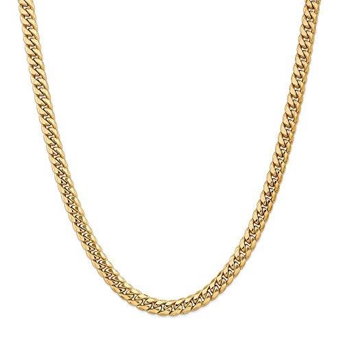 Collar de cadena cubana de Miami de 7,3 mm de oro amarillo de 14 quilates, 60,96 cm para hombres y mujeres