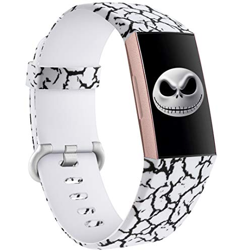 Ouwegaga Compatible for Fitbit Charge 4 Bands Floral Straps Women Men,for Fitbit Charge 3 Bands Marble Pattern Large