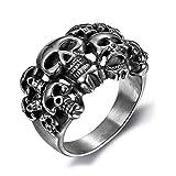 Vintage Pirate Skull Hommes Anneaux Rafraîchissez Anarchy Sons Mort de Crâne Anneau Semi Cercle Complet Grim Raper Skull Ring Gothique,8