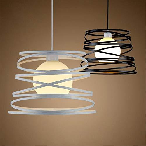 Not a brand Lámpara de Techo de iluminación de luz de la lámpara de la decoración de la lámpara Pendiente E27 del Hierro de la Vendimia de Techo suspendido (Color : White)