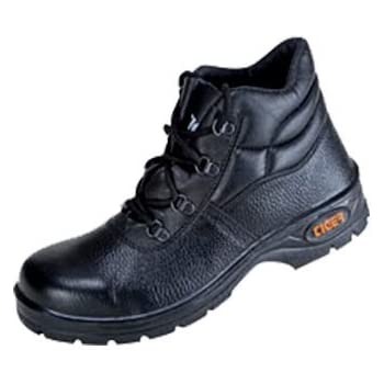 Tiger High Ankle Black Leather Leopard Steel Toe Safety Shoes - 7