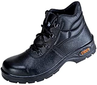 Tiger Men's High Ankle Leopard Steel Toe Safety Shoes (Size 8 UK, Black, Leather)
