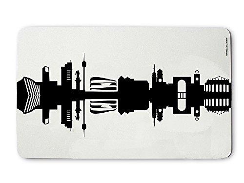 Original Stuttgart Frühstücksbrettchen Skyline schwarz, Kleines Geschenk Design-Brettchen, spülmaschinenfest, 23,5x14,5cm