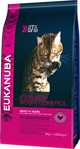 Eukanuba Spezialfutter für Katzen, Premium Trockenfutter, abgestimmt auf die besonderen Bedürfnisse sterilisierter Katzen, 3 kg
