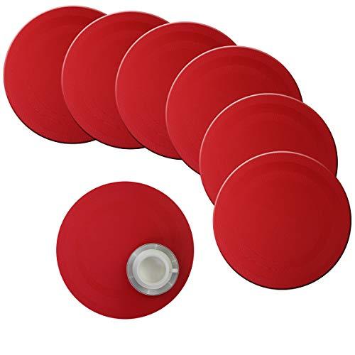 Bright Dream Runde Tischsets für Küchentisch, 38,1 cm, Kunststoff, gewebtes Vinyl, abwischbar, Wärmedämmung, PVC-Platzsets, Set mit 6 Stück (rot)