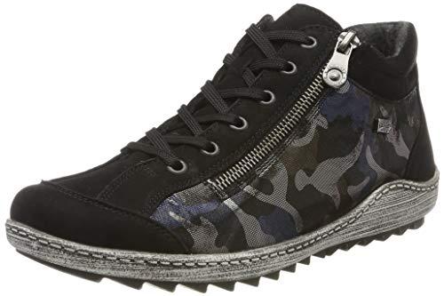 Remonte Damen R1483 Sneaker, Schwarz (Schwarz/Blau-Camouflage/Schwarz 03), 42 EU