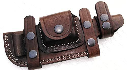 Ottoza Custom Handmade Dark Brown Right Hand Leather Knife Sheath for Tracker Knife - Bushcraft Knife - Hunting Knife - Survival Knife - Fixed Blade Knives Horizontal Scout/Cow - Buffalo Leather No:37