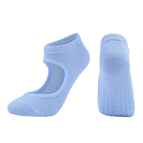 ZITENG CGBH Las Mujeres Pilates Calcetines Antideslizante y Transpirable sin Respaldo Yoga Calcetines del Tobillo de Las señoras del Ballet de Baile Calcetines Deportivos de Gimnasia de la