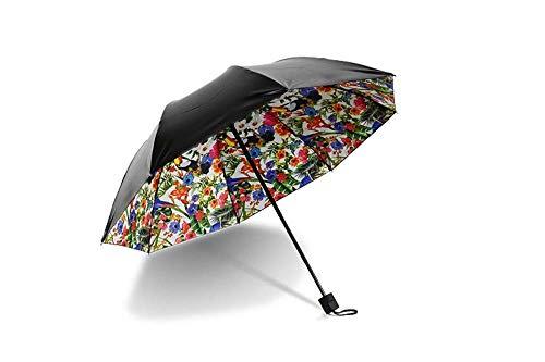 BHDYHM Faltender kompakter Reise-Regenschirm wasserdichter Sun-Block winddichtes Doppel, Qualitäts-Art- und Weisekreative Papagei-Blume Erwachsene Frauen-Mädchen-Sonnenschirm-Sonnenschutz-Schwärzungs-