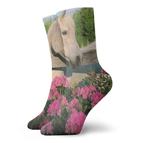 White Morgan Mare Horse With Flowers Socks Calzini da calcio atletici da donna da uomo Calzini morbidi