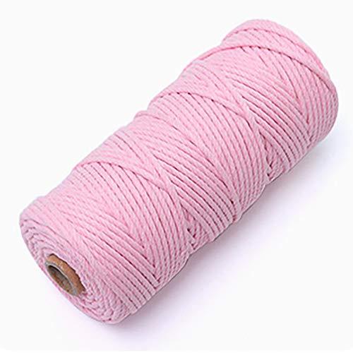 紐 手芸 巾着 ひも 細 太 白 綿 糸 2Mm 3Mm 4Mm 5Mm 3/4 手作り コットン ロープ 編み物 綿糸 ドリームキャッチャー マクラメ タペストリー おもちゃ 手織り ボヘミア風 DIY デコレーション 鉢植え 装飾 ピンク(3mm*20