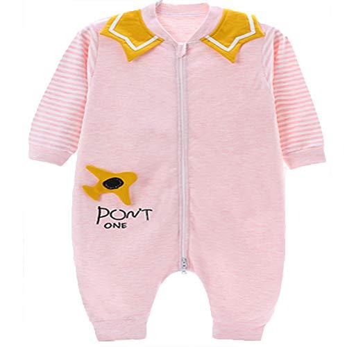 GGYYY Bebé recién Nacido Saco de Dormir de los niños de Manga Larga de Split Pierna Invierno Espesado Envuelta Infantil contra los Monos de una Pieza Traje Kick Escalada,Pink-80
