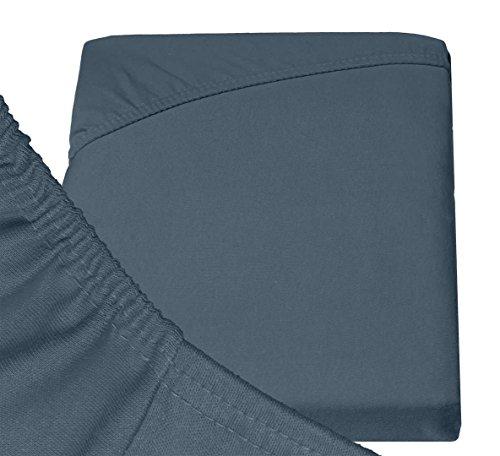 #20 Double Jersey Jersey Spannbettlaken, Spannbetttuch, Bettlaken, 160x200x30 cm, Anthrazit - 8