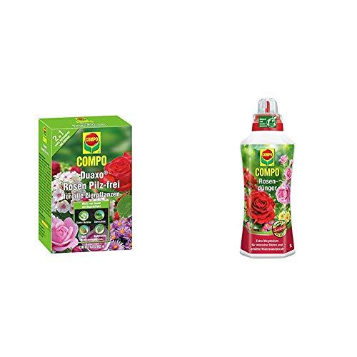 COMPO Duaxo Rosen Pilz-frei, Bekämpfung von Pilzkrankheiten an allen Zierpflanzen & Rosendünger für alle Rosen, Spezial-Flüssigdünger mit extra Magnesium, 1 Liter