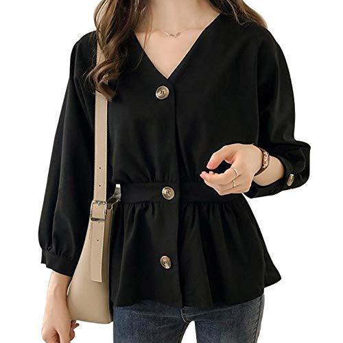 NSSYL damesbovenstuk, lantaarn, mouwen, dames, elegante blouses, herfst, korset, geplooide knoop, zoom solide