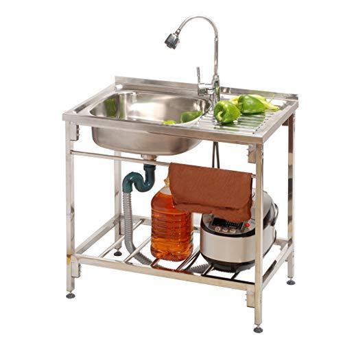 QHW Fregadero de Comedor, Estante de encimera de Acero Inoxidable de Cocina, Fregadero de menú de Lavado con Grifo, desagüe a la Izquierda (80x45x75cm)