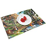 Winnie Pooh Bear Placemats for Dining Table Set of 4, Non-Slip and Heat-Resistant Washable Plate Mat Table Mat
