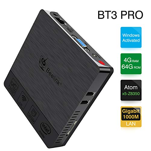 Beelink BT3 Pro Mini PC, RAM 4GB+ROM 64GB, Sistema Windows, Procesador: Intel Atom x5-Z8350, GPU: Gen-9, Doble WiFi a 1000 Mbps, Soportes 4K, H.265, BT, Color Negro[versión optimizada]