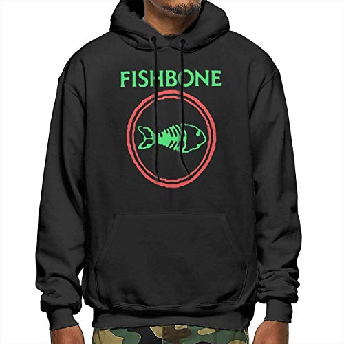 JXZO Herrenpullover Men's Fishbone Retro Punk Rock and Roll Band Fashion Long Sleeve Sweatshirt Hoodie Pullover Black