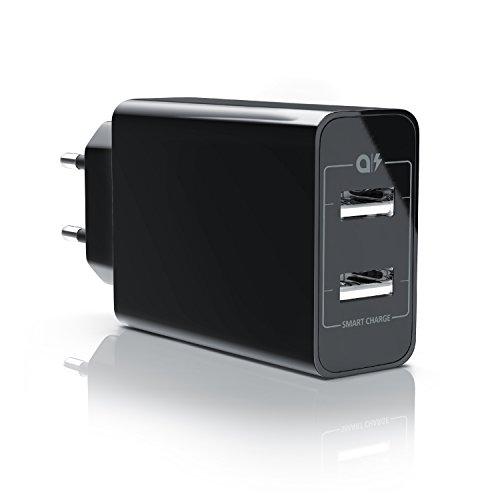 CSL - 24W USB 2 Port Ladegerät / Netzteil Dual Port mit Smart Charge + Solid Charge (intelligentes laden) | geeignet für Apple iPhone, iPad, Samsung Galaxy, Note, Nexus, HTC, Motorola, LG