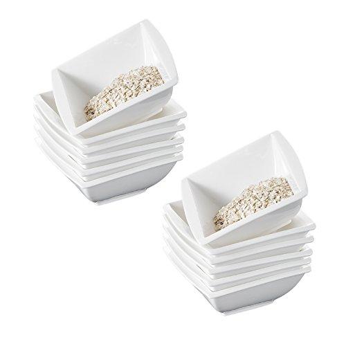 MALACASA, Serie Blance, 5,75 Zoll 12 TLG. Porzellan Schüsseln Set Salatschüsseln MüsliSchälen ReisSchäle für 12 Personen