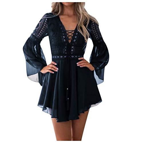 NPRADLA Sommerkleid Damen Minikleid Strandkleid V-Ausschnitt Spitzenkleid Sexy Rückenfreies Kleider Cocktailkleid Partykleider Abendkleid