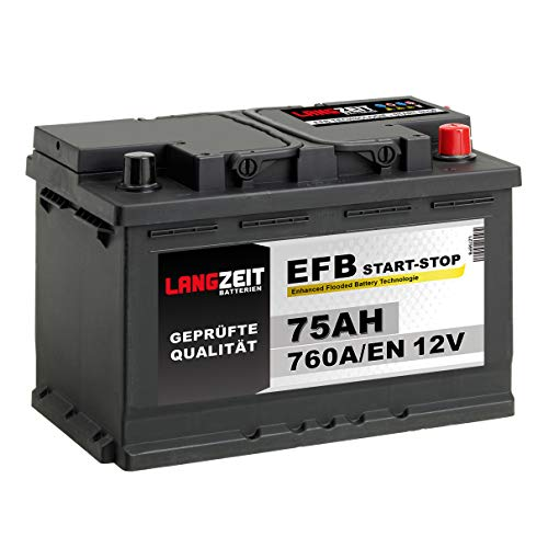 LANGZEIT Autobatterie EFB Batterie Start-Stop Starterbatterie (75Ah 12V)