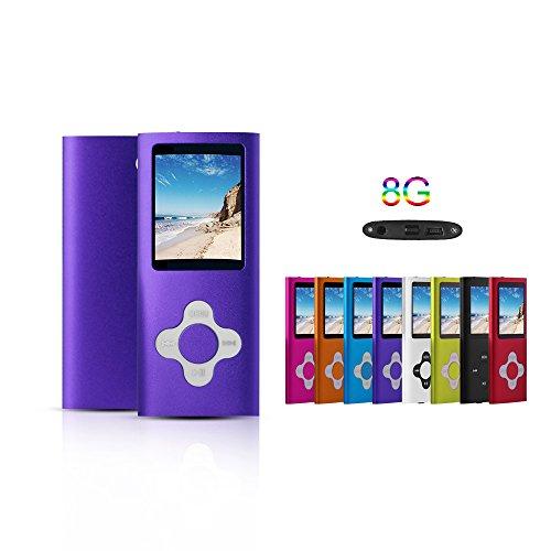 G.G.Martinsen Purple 8GB Versatile MP3/MP4 Player with Photo Viewer, Mini USB Port Slim 1.78 LCD, Digital MP3 Player, MP4 Player, Video Player, Music Player, Media Player