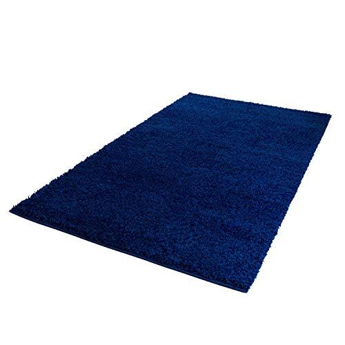 ayshaggy Shaggy Teppich Hochflor Langflor Einfarbig Uni Blau Weich Flauschig Wohnzimmer, Größe: 200 x 200 cm Quadratisch