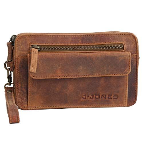 J.Jones Herrentasche - Exquisite echt Leder Herren Handgelenktasche Handtasche Handgepäck - Tasche Doppelkammer (Braun) - präsentiert von ZMOKA®