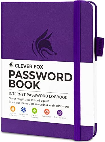Clever Fox Password Book with tabs. Internet Address and Password Organizer Logbook with alphabetical tabs. Small Pocket Size Password Keeper Journal Notebook for Computer & Website Logins (Purple)
