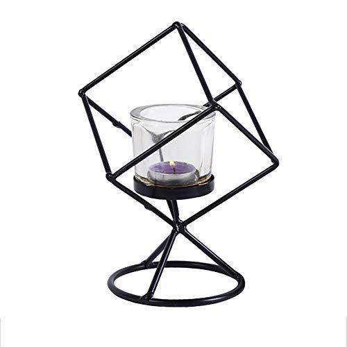 Monbedos Creative Design Metalen wereldbol Kandelaar, persoonlijkheid, decoratie, mooi handwerk (met glas, geen kaars) 13 * 13 * 20CM zwart